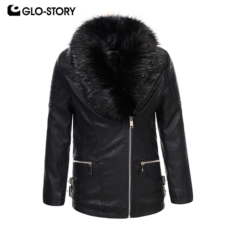 GLO-STORY Shipped From EU Children Girls Winter Thick Warm Faux Leather Jackets Coats with Fur Collar Children Clothing GPY-6766GLO-STORY Shipped From EU Children Girls Winter Thick Warm Faux Leather Jackets Coats with Fur Collar Children Clothing GPY-6766