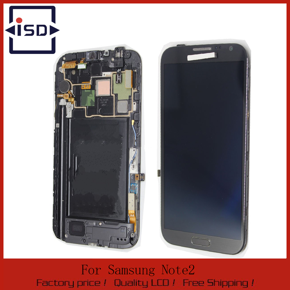 Grey Color LCD For Samsung Galaxy Note2 N7100 lcd Display Touch Screen Digitizer Assembly With Frame, Free Shipping brand new3 n7100 lcd free shipping 10pcs n7100 lcd touch sceen digitizer assembly for samsung galaxy note 2 lcd
