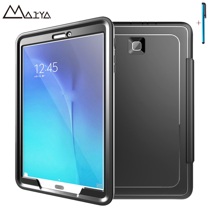 Case For Samsung Galaxy Tab E T560 T561 9.6'' Tablet 3 in1 PC TPU Leather Stand Shockproof Rugged Protective Shell For Tab 9.6 metal ring holder combo phone bag luxury shockproof case for samsung galaxy note 8