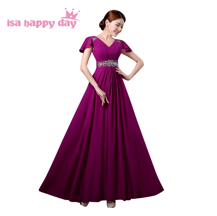 Col en v belle pourpre rouge à manches longues perlée mariée robe de demoiselle d'honneur robes bleu clair robe de soirée pour les mariages H3328