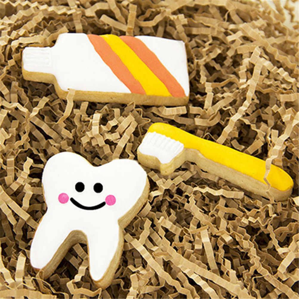 3 יח'\סט נירוסטה מאפה יצק עוגת ביסקוויט עובש 3D מברשת שיניים סט קוקי קאטר עוגת חתונה לקשט כלים