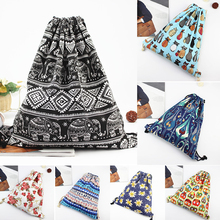 New fashion backpack 3D printing travel softback man women flower drawstring rucksack beach bag men canvas backpacks