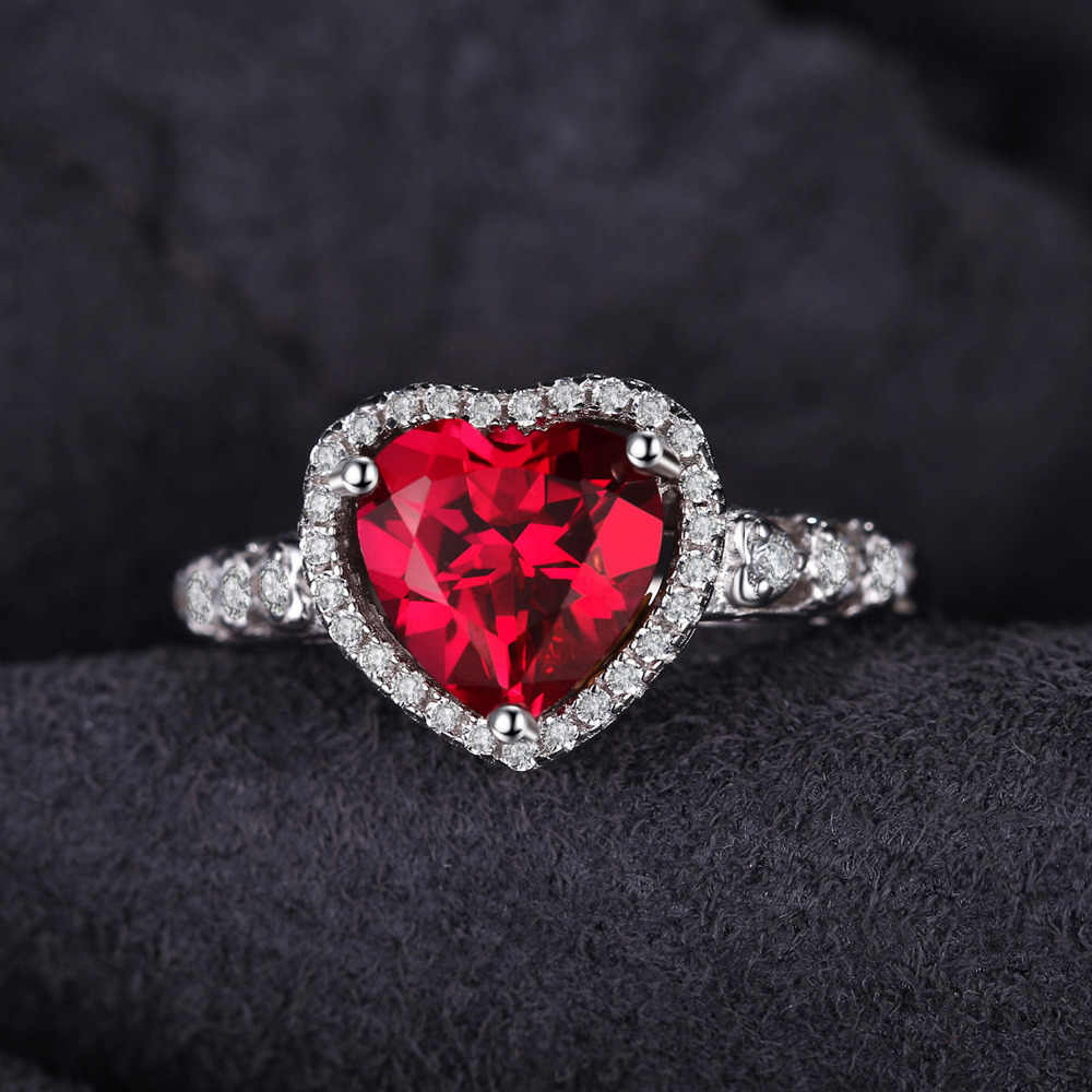 Jewelrypalace Сердце океана 2.7ct создан красный рубин любовь навсегда Halo обещание кольцо стерлингового серебра 925 Свадебные украшения для Для женщин