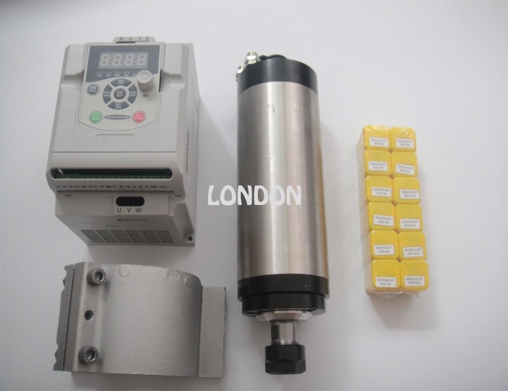 ER20 диаметр 80 мм 220 В 24000 об./мин. 2.2KW водяного охлаждения шпинделя + 2.2KW инвертор + поддержка шпинделя + ER20 цанги