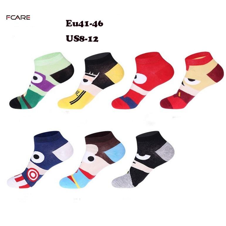 1 pair summer short low Plus size big Captain American cartoon ankle funny cute cotton socks calcetines chaussettez