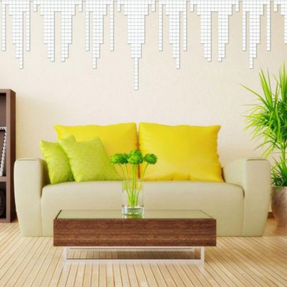 100 Piece Self adhesive Mirror Tile 3D Wall Sticker Square Mosaic ...