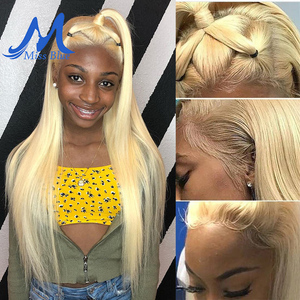 Image 5 - Missblue 613 Honey Blonde Brazilian Remy Hair Wig With Baby Hair Dark Root Lace Front Human Hair Wig for Black Women Pre plucked