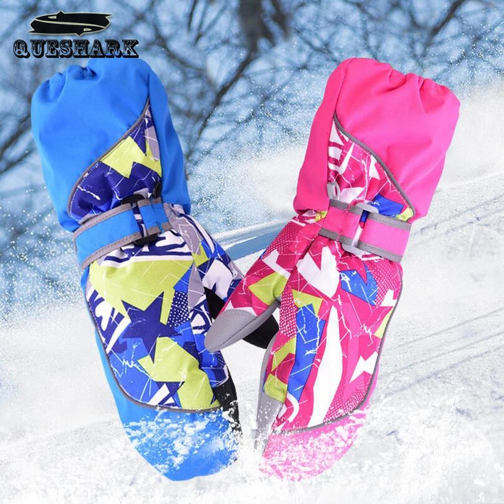 Children Winter Warm Ski Gloves Boys/Girls Sports Waterproof Windproof Snow Mittens Extended Wrist Skiing Gloves new mens leather waterproof screen gloves mittens for male winter windproof ski super driving warm proctive gloves