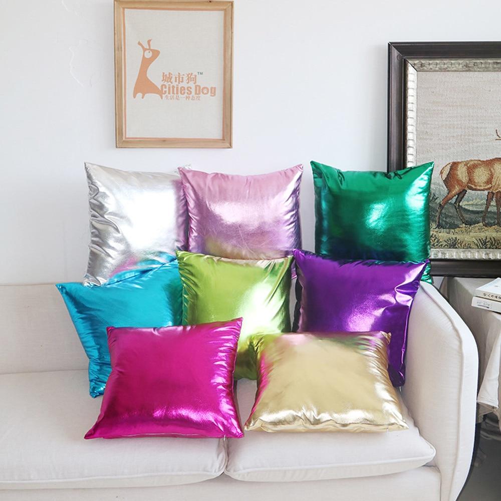 Simple Gold foil cloth PU Imitation 45*45cm Solid Square Cushion Cover Throw Pillow Case Sofa Home Decor Throw Pillow Cover