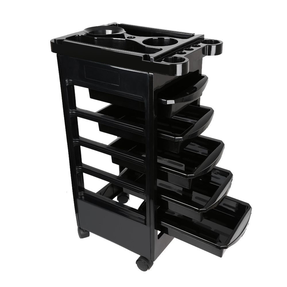 6 Tier Salon Hairdresser Trolley Barber Beauty Storage Hair Rolling Cart Spa Coloring Hair Black Storage Cart Tool Accessory