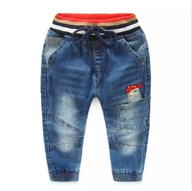 305b22453f 2018 niño lindo carácter helicóptero y piratas suave Jeans para niños  pantalones de mezclilla cintura elástica