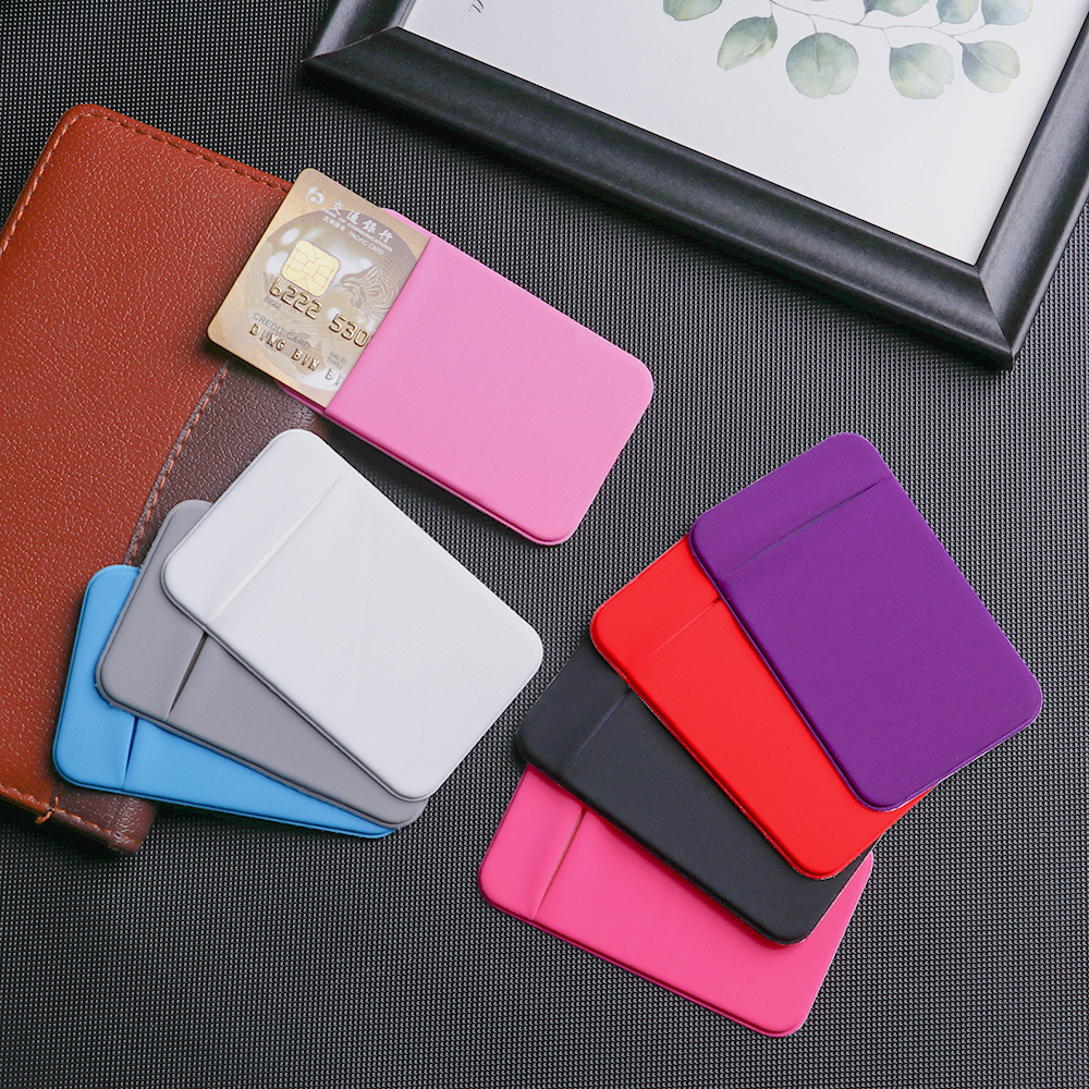 1Pc Adhesive Cell Phone ID Credit Card Holder Elastic Stretch Sticker Pocket Wallet Case Card Holder For Iphone Smartphone