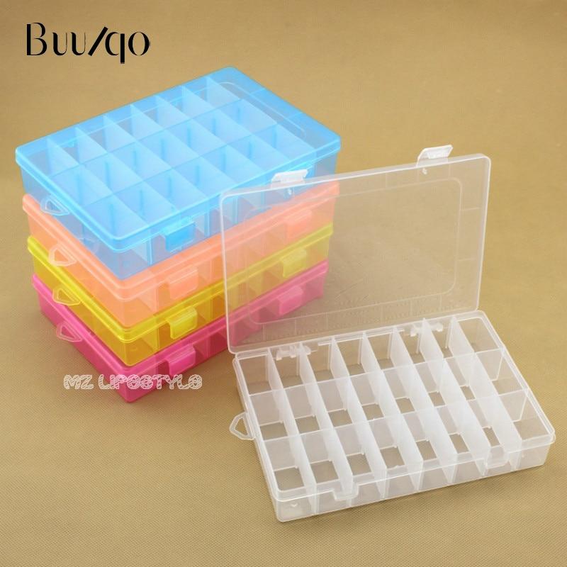 Buulqo 24 бр. Решетки подвижна пластмасова кутия за съхранение регулируема ясно кутия за съхранение Начало контейнер организатор бижута мъниста кутии