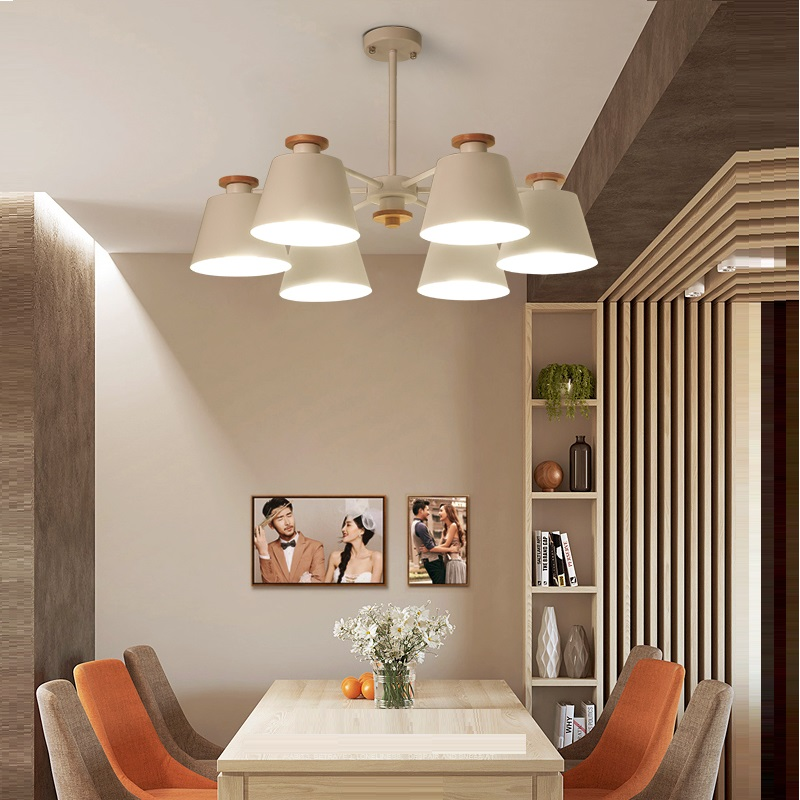 Nordic Chandelier E27 With Iron Lampshade For Living Room Suspension Lighting Fixtures Lam paras Wooden Chandelier