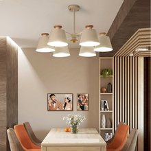 Nordic Chandelier E27 With Iron Lampshade For Living Room Suspension Lighting Fixtures Lam paras Wooden Chandelier lights(China)