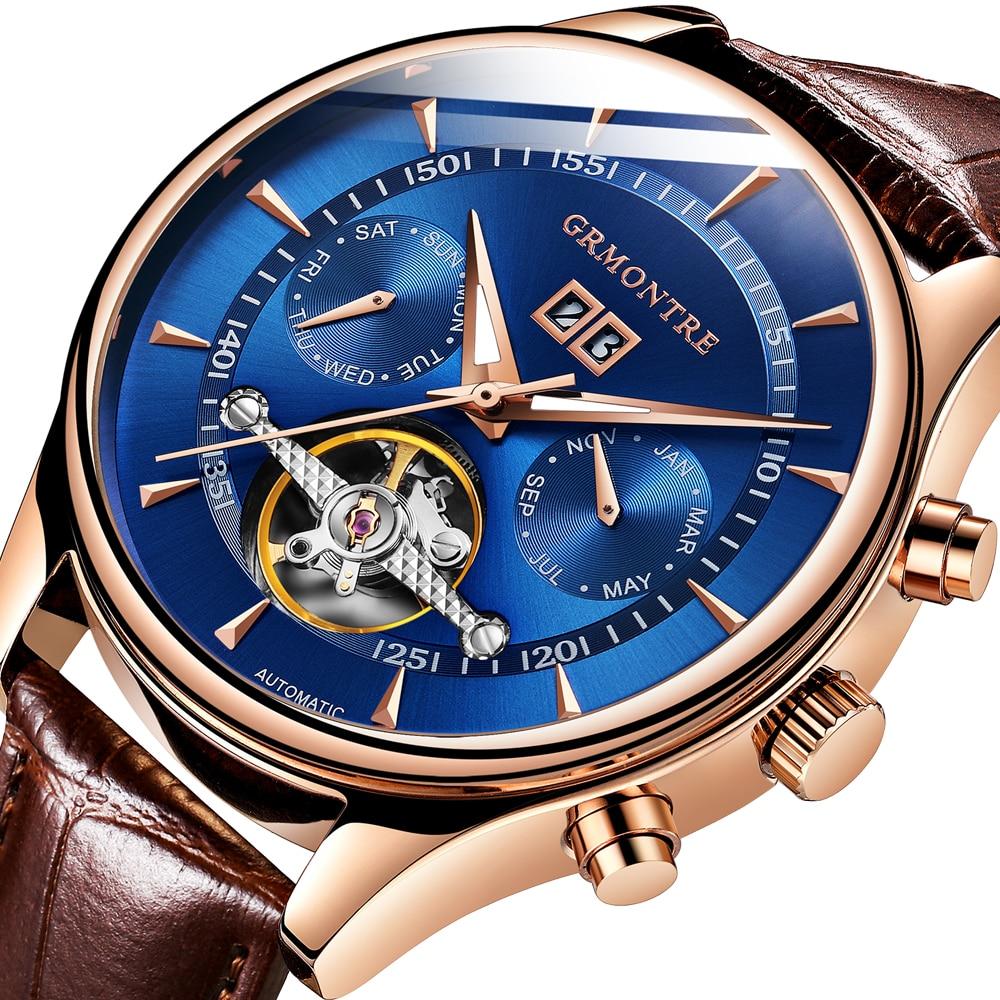 ผู้ชายนาฬิกาอัตโนมัติ Tourbillon หรูหราแฟชั่นแบรนด์หนัง Man 2018 GRMONTRE-ใน นาฬิกาข้อมือกลไก จาก นาฬิกาข้อมือ บน   1