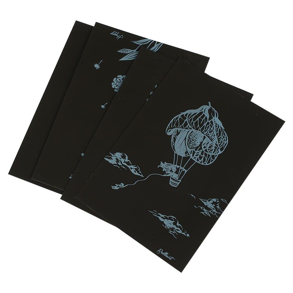 Картина с царапинами Ночной пейзаж царапина картина с черным покрытием художественная бумага Рисование детские образовательные игрушки Описание подарок интересная игрушка - Цвет: Flower