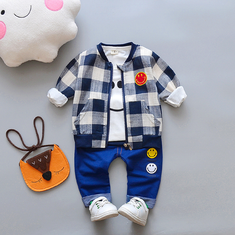 Newborn Baby boy Denim zipper 3Pcs/set (coat+t shirt +jeans) bebes Smiling face infant baby clothes full Sleeve Baby boy Clothes