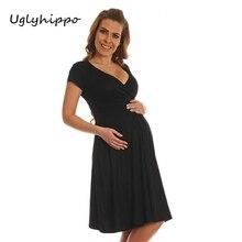 Women's  V-Neck Maternity Dress Short Sleeve For Women Summer Pregnancy Dress Clothing MO44
