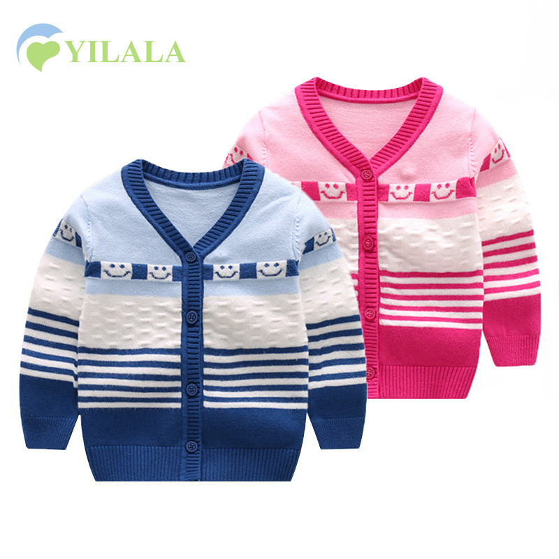 Casual Baby Sweater For Boys Girls V-Neck Long Sleeve Infant Sweater Striped Cotton Knit Cardigan Spring Autumn Oudoor Cardigan