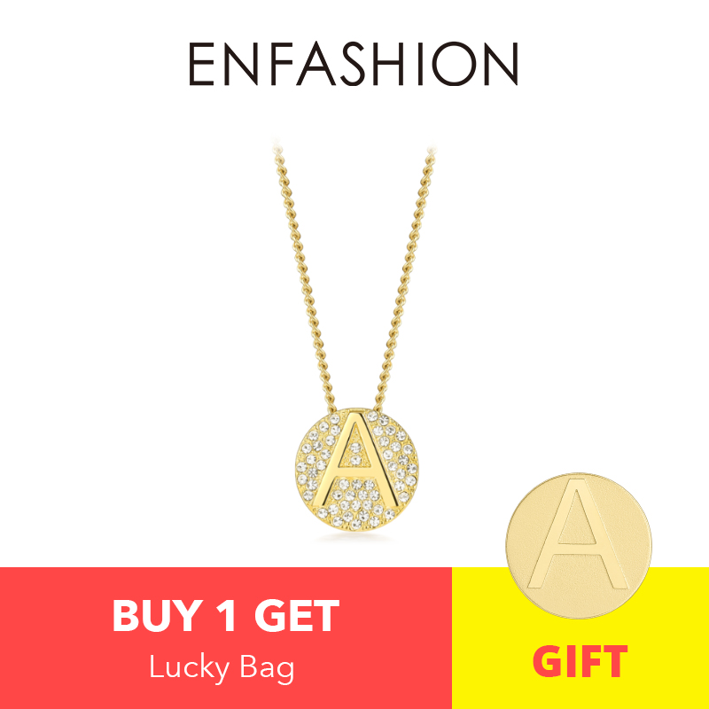 Image 2 - Enfashion Letter Initial Pendants Necklace Stainless Steel Gold Color Letter Charms Necklaces For Women Fashion Jewelry 188002Pendant Necklaces   -