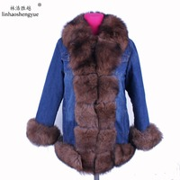 Linhaoshengyue 75cm Thickening can remove lining women coat fox fur collar Thickened cotton linings