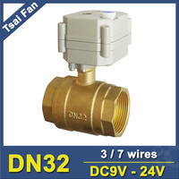 DC9V 24V 3/7 Wires 11/4 Electric Actuated Valve NPT or BSP Thread 2 Way Brass DN32 Motorized Valve With Manual Override