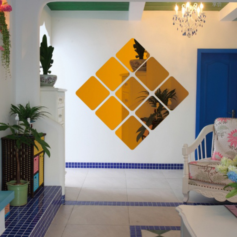 3D Sticker Decal Mosaic Home Room Decoration 6 Pcs Square Mirror Tile Obtuse Angle Wall Stickers