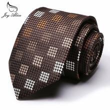 Silk polyester tie high quality mens fashion casual 6cm width narrow corbatas plaid neck ties fine slim neckties wholesale