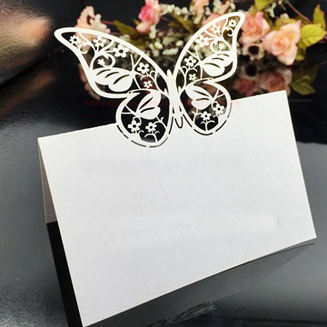50pcs Laser Cut Butterfly Shaped Table Name Place Cards Chic Favor ...