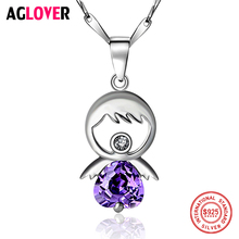 Angel Crystal Zircon Necklace 925 Silver Girl Cute Pendant Fashion Charm 100% Sterling Woman Jewelry