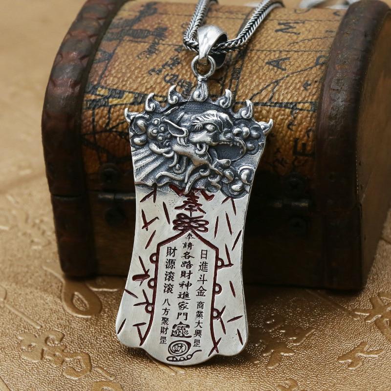S925 Sterling Silver Jewelry Thai Silver Retro Enamel Pendant Men