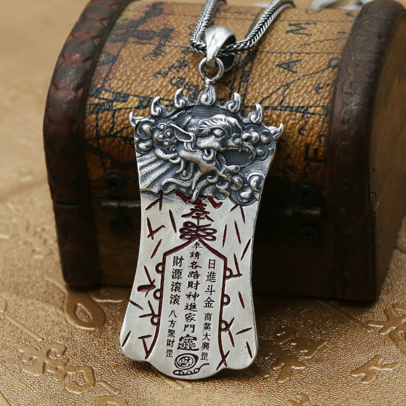 S925 Sterling Silver Jewelry Thai Silver Retro Enamel Pendant Mens Personality Evil Spirits Pendant Gossip With Peace Fall