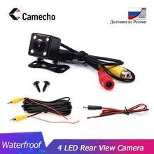 Camecho, универсальный, 4 светодиодный, ночное видение, Автомобильная камера заднего вида, дублирующая для парковки заднего вида, водонепроницаемая, 170, широкоугольный, HD, цветное изображение