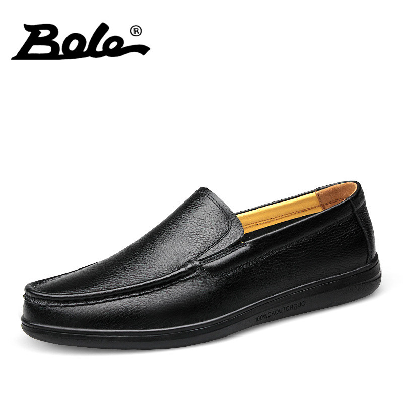 BOLE 36-46 Large Size Men Loafers Handmade Moccasins Shoes High Quality Slip On Breathable Shoes Fashion Walking Shoes Men Flats size 36 46 men