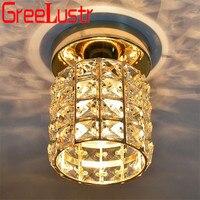 Simple Gold Crystal Ceiling Lights 5W Led Plafon for Foyer Stair Aisle Light Lustre 110v 220v Lighting Fixtures Luminarias