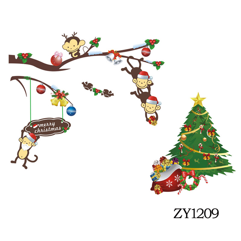 Colorful Cute Monkey Christmas Tree Wall Sticker Party Wallpaper Decal Home Festival Decoration 25cm70cm1 In Stickers From