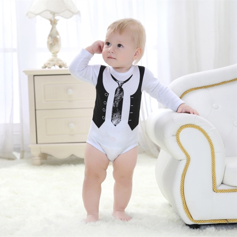 Fashion Top Sale Recommend Retail One-Pieces Boy Gentleman White Long Sleeve Baby Newborn Clothes Body Bodysuit B0721