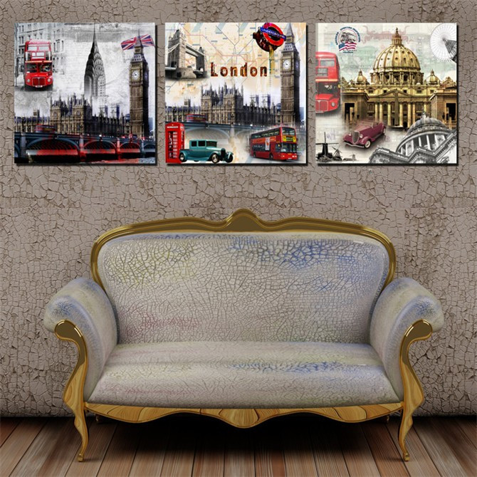 3 Piece Modern Impressionist Old London Oil Painting On ...