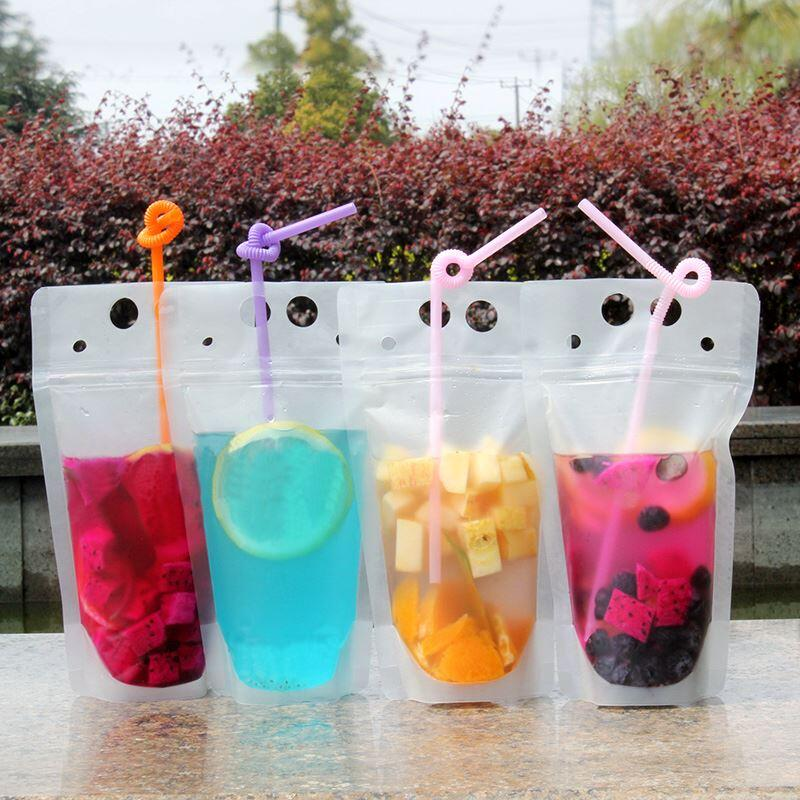 Clear Drink Pouches Bags frosted Zipper Stand-up Plastic <font><b>Drinking</b></font> Bag with straw LX6228 image