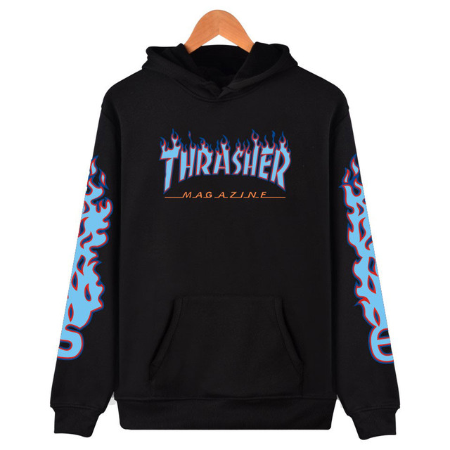 2017 New Brand-clothing Thrasher Hoodie 3XL Fashion Sweatshirt Men Black Trasher Hip Hop Streetwear