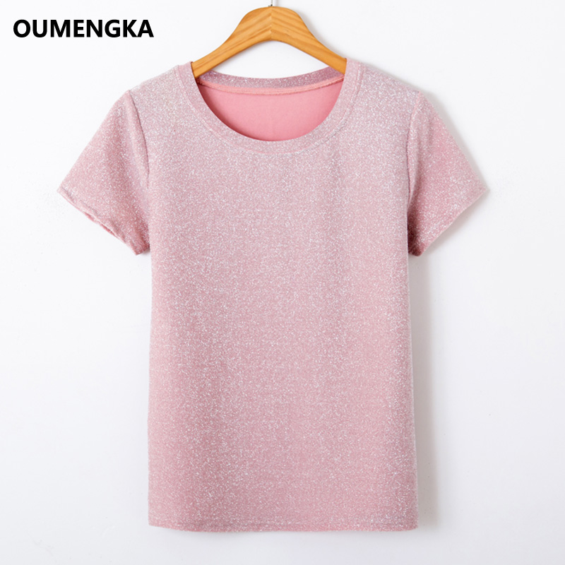 OUMENGKA 2019 Summer Shiny Lurex Tops Women Basic T-Shirt Casual O-Neck Tee Shirt Woman Solid T Shirt Short Sleeve Good Elastic