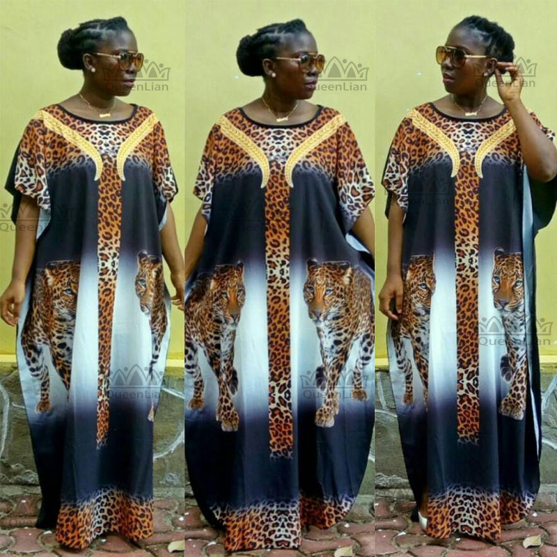 2018 New Fashion Super Size  Chiffon African Loose Long Dashiki Flower Pattern Printing Nation Printing For Lady(LH#)