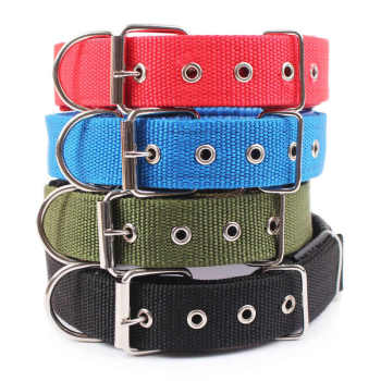 4.0*60cm Length  Comfortable Adjustable Nylon Strap Dog Collar For Small And Big Pet Dogs Collars 4 Color Red/Bule/Black/Green