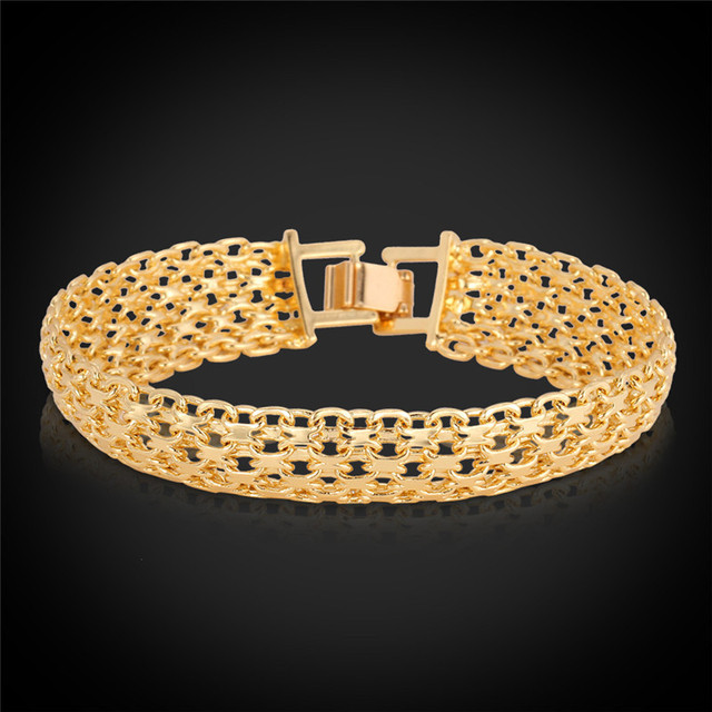 bracelet yellow cuban gold hollow
