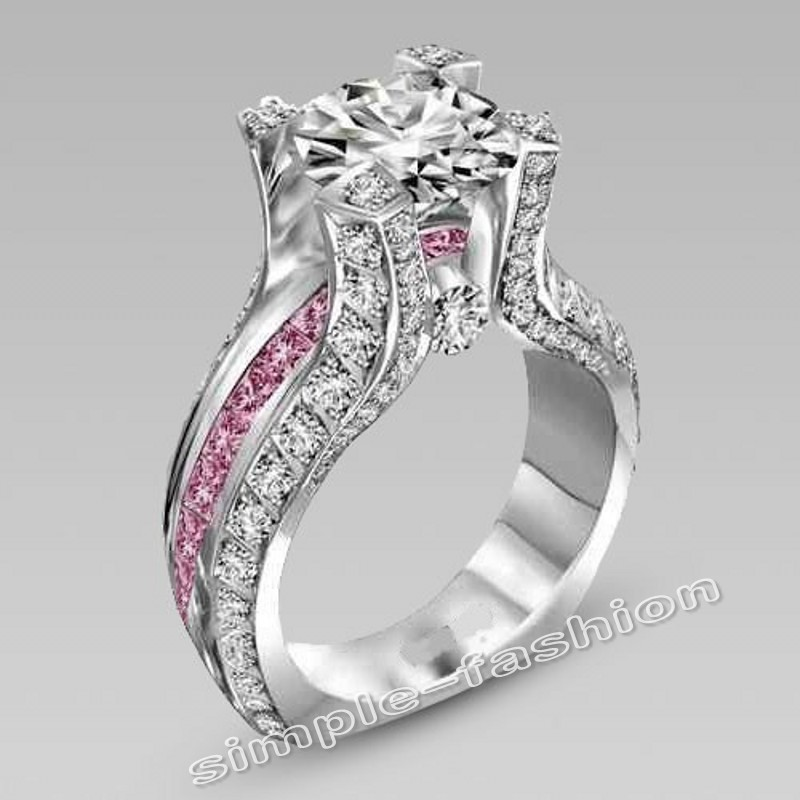 fashion jewelry vintage jewelry 4ct pink birthstone 5a zircon stone 10kt white gold filled women wedding band ring bridal sets - Pink Wedding Ring Set