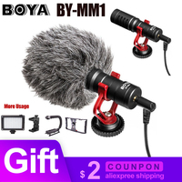 BOYA BY MM1 Microphone On Camera Video Recording Mic Microfone for DJI Osmo Mobile 2 DSLR Camera Canon iPhone Xiaomi PK Rode