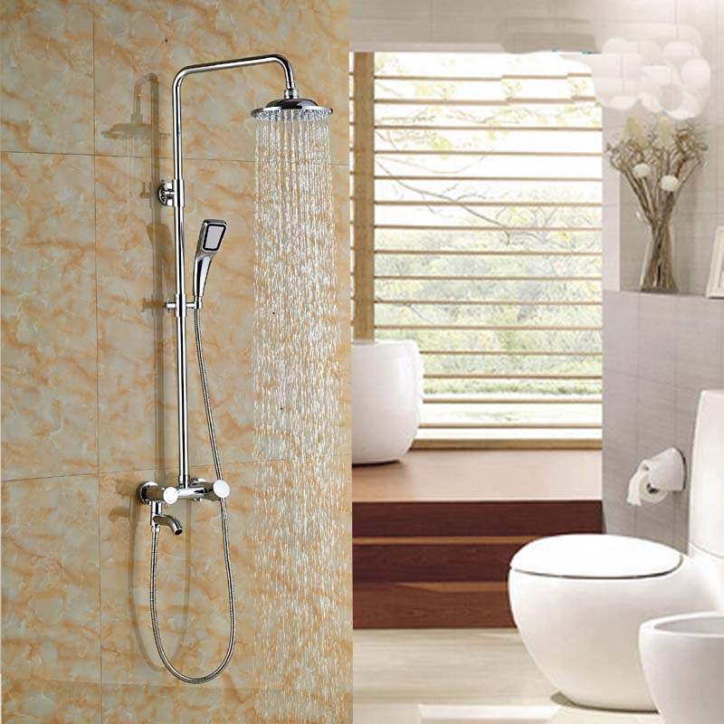 Contemporary Wall Mount 8'' Bathroom Shower Mixer Faucet Single Handle Rainfall Shower Set with Tub Spout Handshower bathroom chrome shower faucet set with thermostatic mixer valve wall mount 8 ultrathin rain showerhead handshower