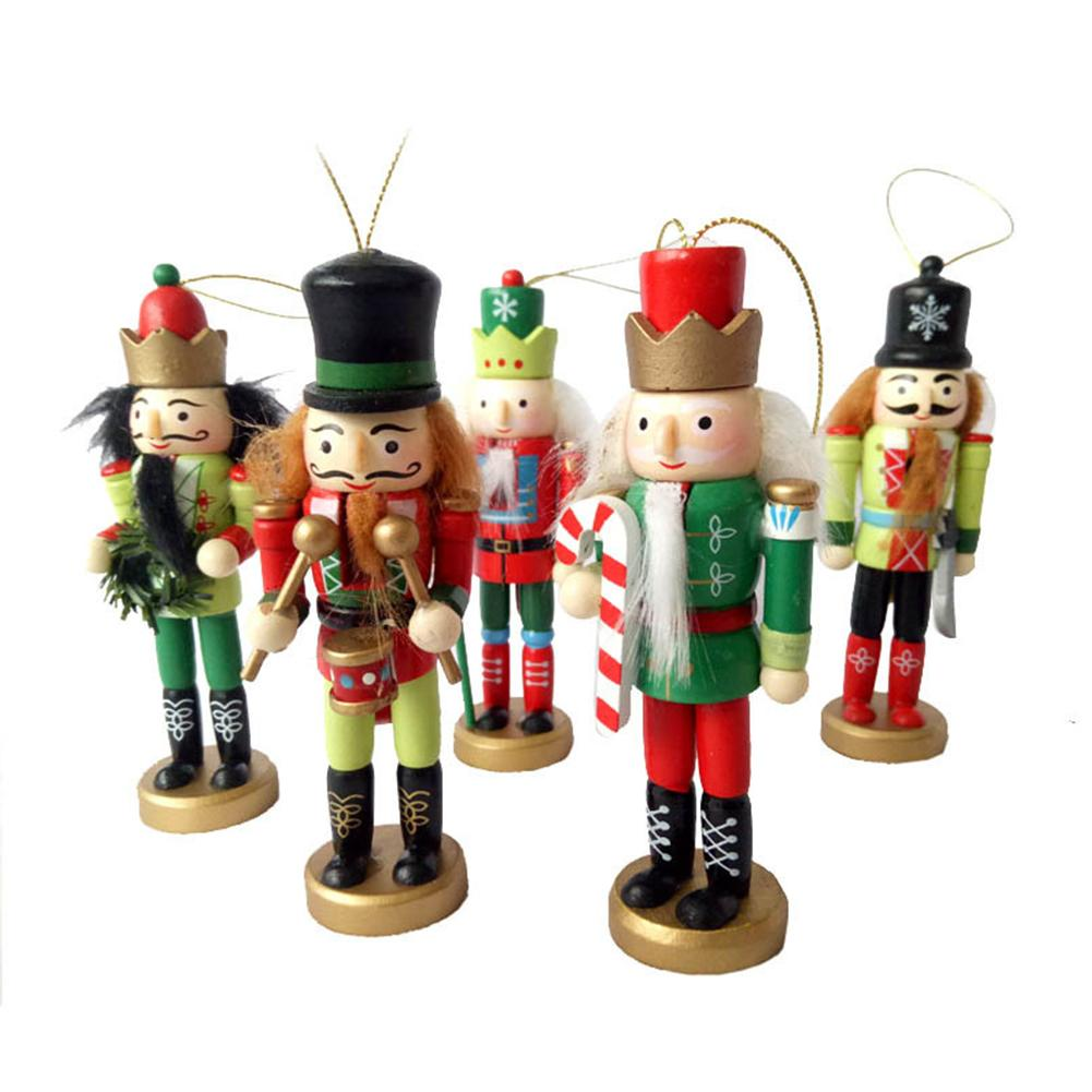5pcs/set 12cm Christmas Gift Puppets Doll Toy 12CM Wood Stained ...