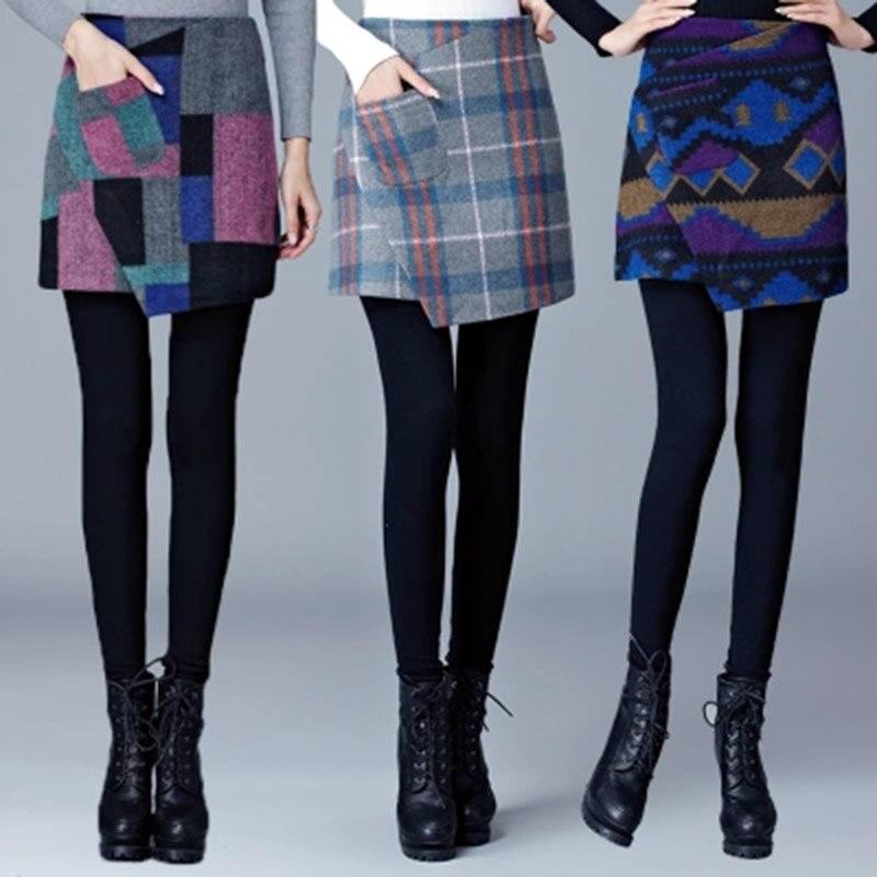 Hot Promtion Women Legging Slim High Waist Thicker velvet Legging Women Two-piece Legging Pantskirt Fashion Leggings Slim Skirts